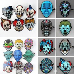 Wholesale Newest Sound control luminous LED mask nightclub makeup mask fluorescent LED Horror mask Party Masks I314