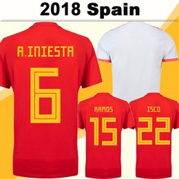 Spain Soccer team online shopping - 2018 World Cup Spain A INIESTA Soccer Jerseys ISCO DIEGO COSTA Home Red Jerseys National Team ASENSIO PIQUE Away White Men Football Shirts
