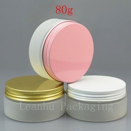 Discount gold cream jars - 50 x 80g empty PET frosting white cream jar with white   pink   gold aluminum screw cap 80cc solid perfumes refillable c
