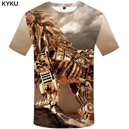 Punk Metal Wholesale Clothing Australia - KYKU Brand Wolf T shirt Metal Clothes Punk shirts Animal Tshirt T-shirt Clothing Men Man Male Cool Homme