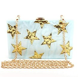 Gold Boxing Trunks Australia - pearlescent Color Gold Glitter Star Wholesale Acrylic Bag Women Brand Lady Evening Shoulder Bag Acrylic Clutch Box Bags Handbag