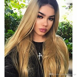straight blonde wig roots 2018 - Hot Beautiful 180% Density Long Straight Wig Ombre Blonde Fiber Hair for Woman Dark Roots Heat Resistant Synthetic Lace