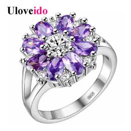 $enCountryForm.capitalKeyWord Canada - Uloveido 15% Off Wedding Rings for Women Purple Flower Ring Female Costume Jewelry Silver Color Bague Bijouterie Ringen J676