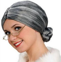 Great Wigs UK - Dress Up Show Wig Cosplay Old Woman Woman Silver Hair Great Santa Claus Grandmother Hairpiece Christmas Headwear