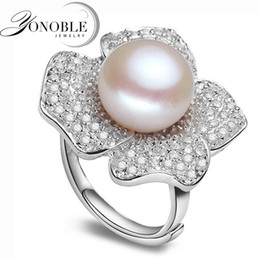 Best Natural Pearl NZ - Lady pearl ring Big freshwater natural Pearl Rings 925 sterling silver pearl ring wedding women best birthday gift top quality Y1892705