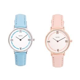 Zegarek orologio al quarzo femminile in pelle con cinturino rotondo orologio in pelle Coppia moda femminile sottile cinturino in marmo con quadrante 30OC16