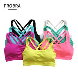 3d5dd7e3c1 PROBRA cross straps backless sexy shockproof sports bra without steel ring  running yoga breathable underwear fitness