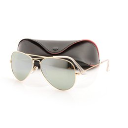 Chinese  10PCS Mirror sun glasses Aviators Unisex Sunglasses pilot Mens Womans Glass sunglasses Brand New 3025 glasses ray Brand Designer sunglasses manufacturers