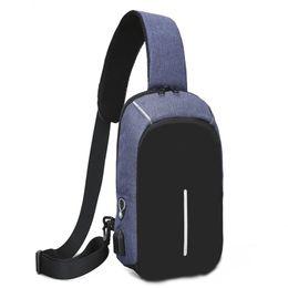 dee2c224dde3e Wasserdichte Männer USB Brusttasche Schultertasche Große Kapazität  Handtasche Umhängetaschen Verschleißfeste Umhängetasche Ladegerät Messenger  Bags