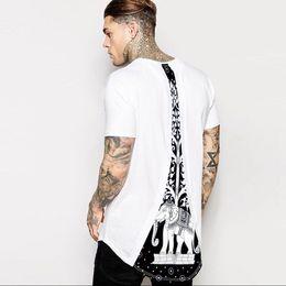long sleeve curve hem tee men 2019 - Men Clothing Tops Tower And Elephant Print White Curve Hem Male Tee White Short Sleeve Long T-shirts cheap long sleeve c