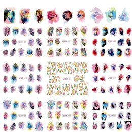 Misto 12 disegni / lotto Acquerello Graduale Sticker Nail Art Water Transfer Tips Decalcomanie DIY Decor Dream Catcher / Girl / Car TRBN421-432
