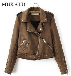 $enCountryForm.capitalKeyWord Australia - MUKATU New Fashion Women suede motorcycle jacket Slim brown full lined soft faux Leather female coat epaulet zipper C18110901