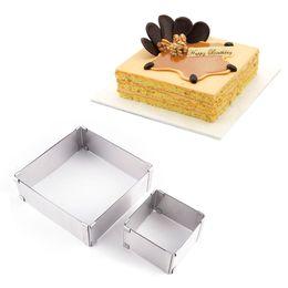 Baking Mousse Ring UK - DIY Metal sliver color Stainless Steel Cutter Width Adjustable Square  Retangle Shape Mousse Ring Kitchen baking cooking Tool