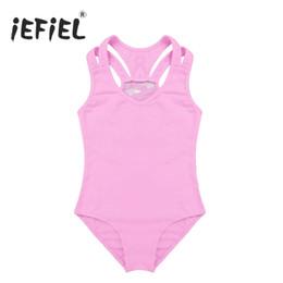 995d742400c4 iEFiEL Girls Sleeveless Lace Splice Racer Back Cotton Ballet Tutu Dance  Gymnastics Leotard Body Suit for Kdis Jumpsuit Costumes
