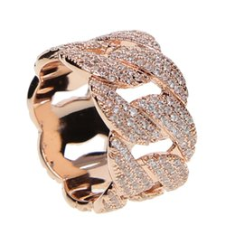 Chinese  silver gold rose gold 3 colors iced out bling ring for men miami cuban link chain design Cool boy mens bling bling hip hop rings jewelry manufacturers