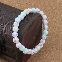 Bracelets Beads carved online shopping - MIC Hollow Cross Carved Acrylic Round Spacer Beads Religious Beaded bracelet Bracelets mm Jewelry DIY B