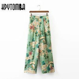flared floral trousers Australia - Vintage Elegant Floral Print Wide Leg Pants Women 2018 New Fashion High Waist Loose Ladies Trousers Casual Pantalones Mujer S914