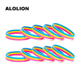 Venta al por mayor de Pansexual Orgullo Asexual Silicone Rubber Bracelets Sports Wrist Band Bangle 0004