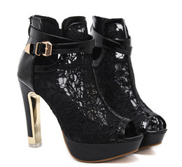$enCountryForm.capitalKeyWord NZ - Sexy White Black Lace Hollow Out Peep Toe Ankle Boots Buckle Metal Heels Breathable Chic Wedding Shoes