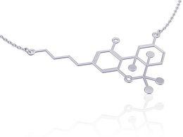Necklaces Pendants Australia - 30pcs Gold Silver science Molecule pendant Necklace Chemical molecule Necklaces DNA Dopamine Necklace Hormone Chemistry Element Necklace
