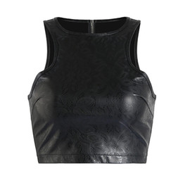 Chinese  2018 Women Short Crop Top Bustier Plus Size S-XXL Fetish Clubwear Zip Back PVC leather Tank Tops Wet look Pu Tube Top Sleeveless manufacturers