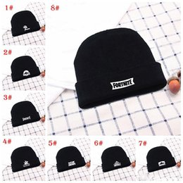 a2950e13873 Fornite knitted hat women man fashion winter warm black with white crimping hip  hop caps wool hats hot sell