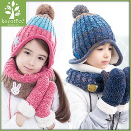 442d2a2221e Children Winter Hat Scarf Mittens Set Coloful Stripes Knit Baby Kids Beanie  Cpas Neck Warmers Gloves Suits For Boys Girls Thick