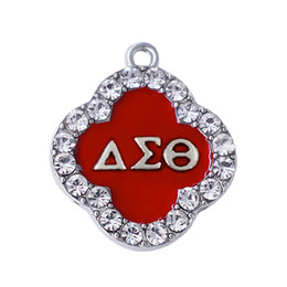 Wholesale Double Nose Custom Design Red Enamel White Crystal Sorority Delta Sigma Theta Charm Greek Letter Life Member Gift School Jewelry