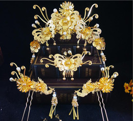 $enCountryForm.capitalKeyWord NZ - Bride Chinese style costume peacock phoenix show Wo clothing headdress gold tassel main crown wedding styling hair jewelry wedding