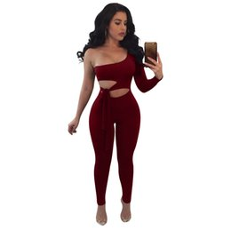 70dfbc8ffa54 FanFan 2018 new women one shoulder bow tie cut out one pieces jumpsuit 2018  autum casual sleeveless bodysuit full female romper