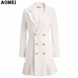 Ruffled Suits Blazers NZ - New Fashion Suit Women Blazer Workwear White With Ruffle Office Ladies Long Blaser Clothing Fall Golden Button Spring Winter Top S18101305