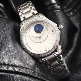 Diamond Phase NZ - luxury watch for women Diamond Watch famous brand fashion 316L steel simple dial waterproof watch moon phase wholesale