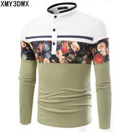 $enCountryForm.capitalKeyWord Australia - Mens Flower Print Long Sleeve spring autumn Slim Fit Shirts for man Leisure Stand collar Shirts Stitching Tops&Tees