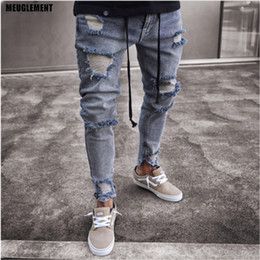 привет-хоп оптовых-Brand Designer Slim Fit Ripped Jeans Men Hi Street hip hop Mens trousers Denim Joggers pants Knee Holes Washed Destroyed Jeans