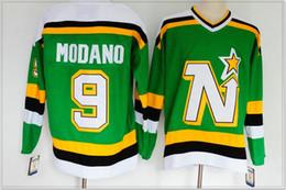 Team Hockey Uniforms NZ - New Mens Dallas Stars #9 Mike Modano Vintage Ice Hockey Team Pro Shirts Uniforms Sports Jerseys Cheap Stitched Embroidery Sz M-XXXL On Sale