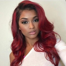 Red ombRe human haiR wigs online shopping - Two Tone Ombre Burgundy Full Lace Human Hair Wigs Loose Wavy Peruvian Virgin Hair Wine Red Density Lace Front Wigs