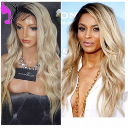 $enCountryForm.capitalKeyWord Australia - Hotsales Ombre Wig 180% Density Glueless Blonde Lace Front Wig With Dark Roots High Temperature Fiber Hair For African American Wigs