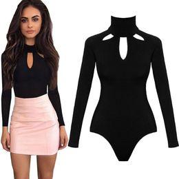 Bodysuit Women Body Suits for Women Sexy Romper Black Mock Neck Long Sleeve  Hollow Out Back Bodysuit 2019 Spring 436442d63
