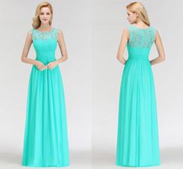Wholesale Elegant Lace Top A Line Bridesmaid Dresses A Line Chiffon Sleeveless Sheer Neckline Long Maid Of Honor Dresses Cheap BM0052