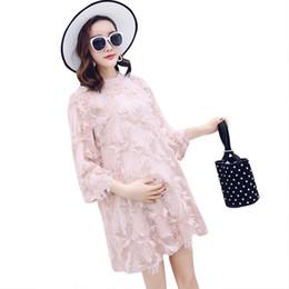 5515f4ff2 Pengpious media manga de las mujeres embarazadas primavera verano borla  gasa una línea favorece camisas sueltas