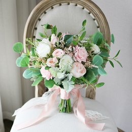 $enCountryForm.capitalKeyWord NZ - Pink White Rose Forset Bridal Bouquets 2019 New Design Wedding Home Decoration Artificial Bride Holding Brooch Bouquet Bride Photography