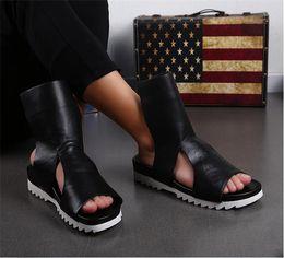 Back Hair Men Australia - New sandals cool boots men 's leather summer beach casual shoes beach shoes toe Rome paltform hair stylist