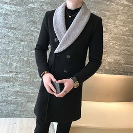 Wholesale casaco cashmere masculino resale online - Long Wool Coats Mens Khaki Double breasted Long Coats Mens Gentleman Trench Abrigo Hombre Invierno Casaco Longo Masculino