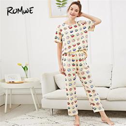 ce886f1174 ROMWE All Over Cat Print Pajama Set Woman Casual Cartoon Multicolor Summer  Sleepwear Round Neck Short Sleeve New Style Nightwear