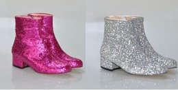 Wholesale Sexy Glittering Ankle Boots Sparkly Leather Sequin Chunky Heels Boot Woman Round Toe Ridding Boots High Quality Motorcycle Boot