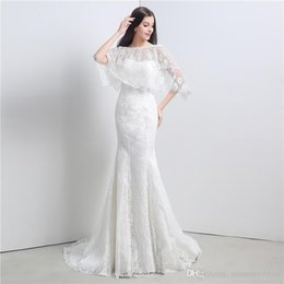 sheer lace jacket wedding dresses NZ - Lace Mermaid Wedding Dresses With Wraps Fast Delivery 100% Real Photos Elegeant Ivory Sweetheart Bridal Gowns With Jackets