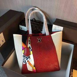 Cotton Viscose Scarves Australia - 2019 M42292 HOT Scarf Real Calfskin RED FASHION Shoulder Bags SHOPPING BAG Hobo HANDBAGS HANDLES BOSTON CROSS BODY MESSENGER SHOULDER BAGS