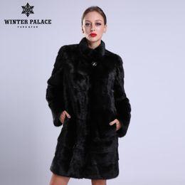 fc0f9458019 2018 New style fashion fur coat natural mink stand Collar good quality mink  fur coat women natural black coats of fur Y18101702