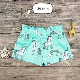 Discount cartoon kids wear - INS Summer Kids Unicorn Shorts Cartoon Baby Elastic Waist blue short pants Girls children toddler Pant Boy Girls Wear Ba