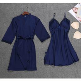 $enCountryForm.capitalKeyWord NZ - New 2018 Women Ladies Sexy Silk Satin Dress Bathrobe Nightgown Sets Lace Kimono Pajamas Lingerie Sleepwear chemise de nuit femme